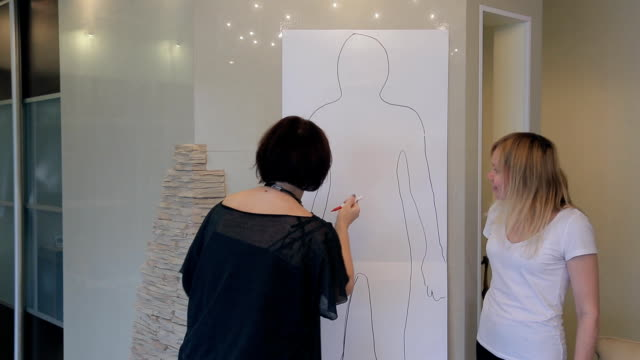 Stylist shows figure features for client outline full-length sketch video