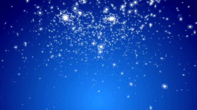 Stylistic Snowflakes with Blue Background video