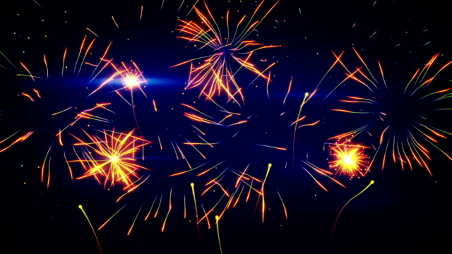 stylized fireworks seamless loop animation video
