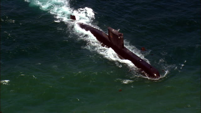submarine at sea close - Aerial View - Western Cape,  South Africa video