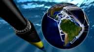 Submarine internet network map and fiber optic   cable. video
