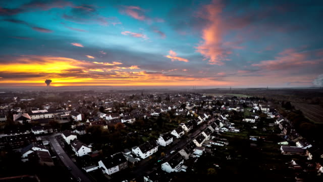 AERIAL : Suburb at Sunset video