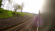 Suburban electric train proceeds down its route amidst European landscape video