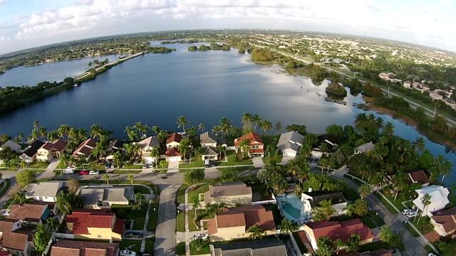 Suburban homes aerial view video