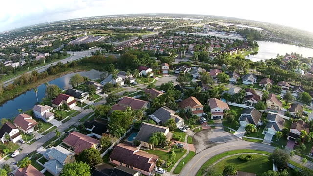 Suburban neighborhood in Florida aerial view video