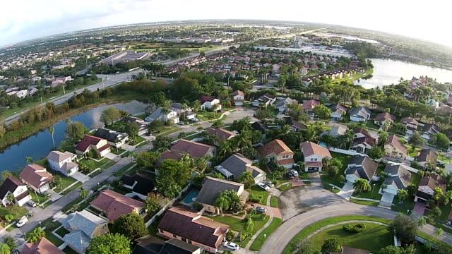 Suburban neighborhood in Florida aerial view video