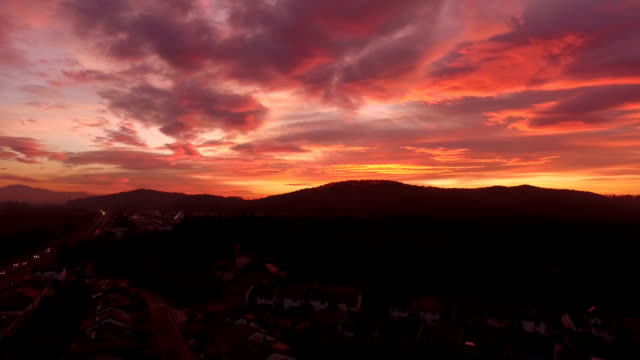 AERIAL: Suburban town surrounded with forest at beautiful reddish sunset video