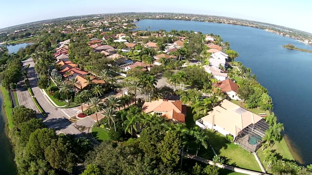 Suburban waterfront homes in Florida video