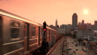 Subway 7 Train at Sunset in Sunnyside Queens video