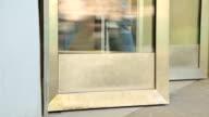Subway station entrance doors video
