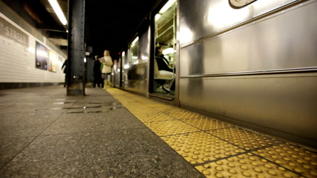 Subway train leaves station video