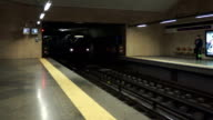 Subway trains entering station in Lisbon video