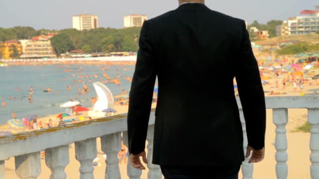 Success Pose Businessman Business Beach Vacation Concept HD video