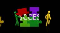 Success puzzle. Black background. video