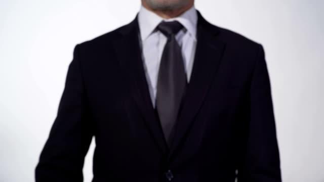 Success story written on blackboard in businessman hands, start new business video