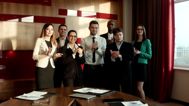 Successful business group applauding video