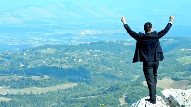 Successful businessman raising arms on blue sky. Concept of success video