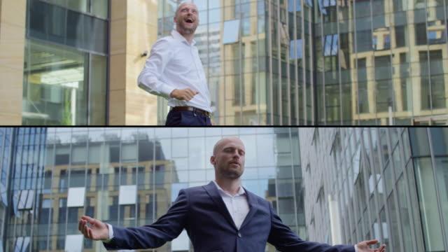 Successful businessman. Split screen video