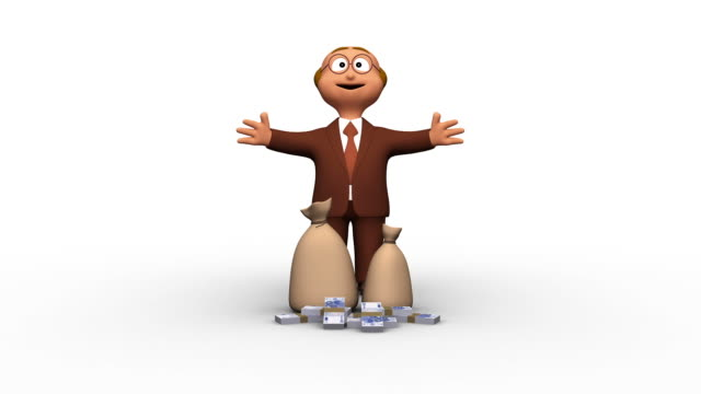 Successful Cute 3D Business Man With Euro Piles video