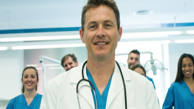 Successful doctor and his staff video