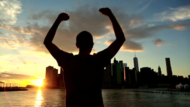 Successful Man in New York at Sunset video