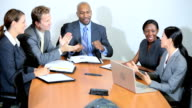 Successful Multi Ethnic Business Team Good News video