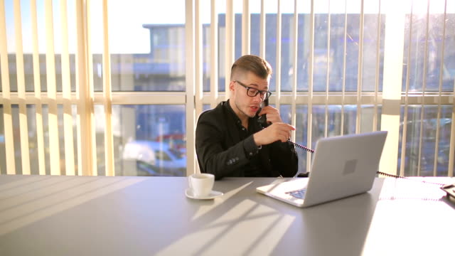 Successful young businessman using telephone during coffee break video