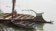 Sudanese men rowing traditional Felukka boat on Nile video