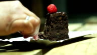 Sugar addict eating chocolate cake with plastic spoon, unhealthy diet, video