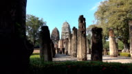 Sukhothai historical park with temple background, Thailand video