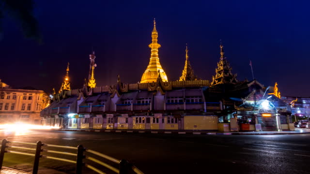 Sule Pagoda at Night Of Yangon, Myanmar (zoom out) video