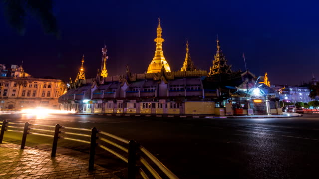 Sule Pagoda at Night Of Yangon, Myanmar (tilt up) video