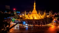 Sule Pagoda Landmark Place And Night Cityscape Time Lapse Yangon City, Myanmar (loop) video