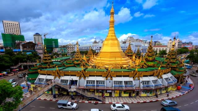 Sule Pagoda Landmark Travel Place Of Yangon City, Myanmar 4K Time Lapse (zoom in) video