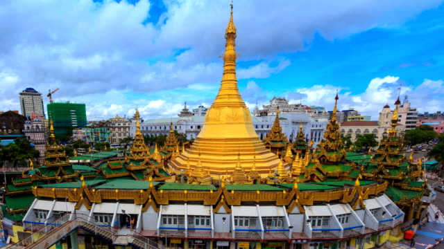 Sule Pagoda Landmark Travel Place Of Yangon City, Myanmar 4K Time Lapse (zoom out) video