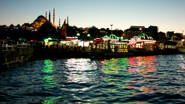 Suleymanie Mosque from the Galata Bridge in Istanbul. video