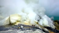 Sulfur mine at Ijen crater video