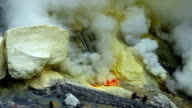 Sulfur mine at the Ijen crater video