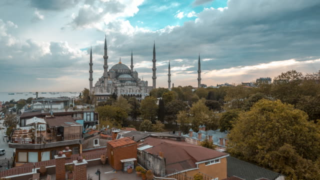 Sultan Ahmed Mosque in Istanbul Sunset video
