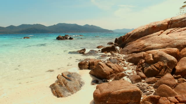 Summer Beach with Blue Turquoise Sea in Sunny Day of Summer Season video
