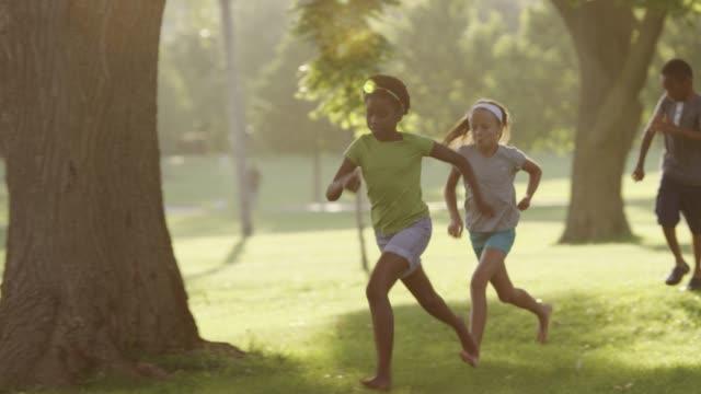Summer camp kids outside together video