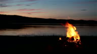 Summer Campfire and Lake at sunset video