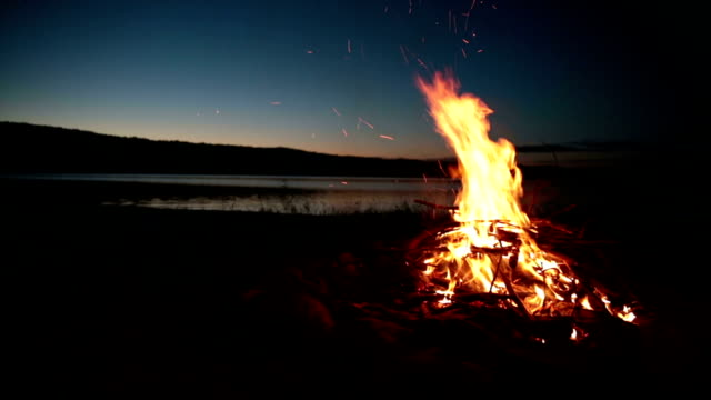 Summer Campfire and Lake at sunset video