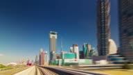 summer day metro train ride across dubai city 4k time lapse united arab emirates video