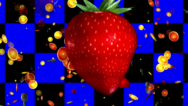 Summer fruits on a black and blue background. 3D video