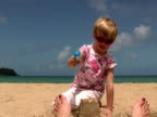 Summer Fun: Child Sprays Mother's Feet with Water video