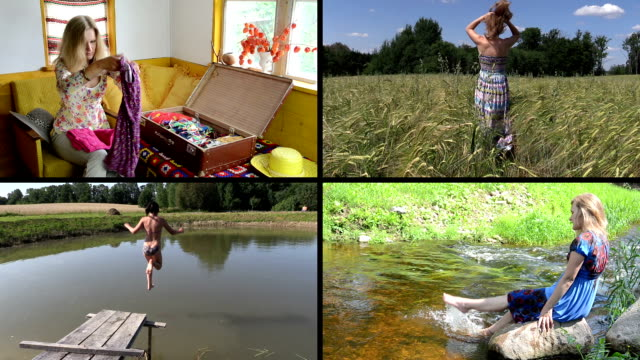 Summer holiday gaiety. Relax in nature. Video clips collage. video
