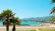 Summer in Spain background, beautiful Mediterranean Sea, palm trees and blue sky video