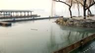 Summer in winter , Ice all around , morning fog , Beijing , China video
