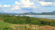 Summer landscape with volcanos and lake Balaton  of Hungary video